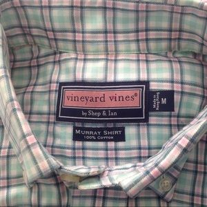 Vineyard Vines Shirts - Vineyard Vines Pink/Green/White Plaid Shirt Sz M